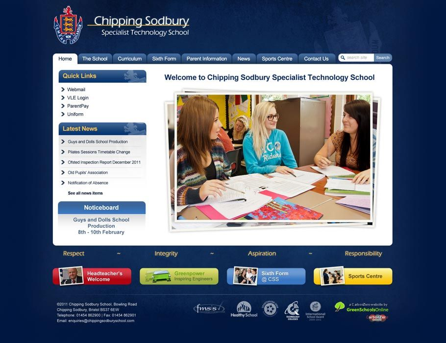 Enlarge Chipping Sodbury School website design