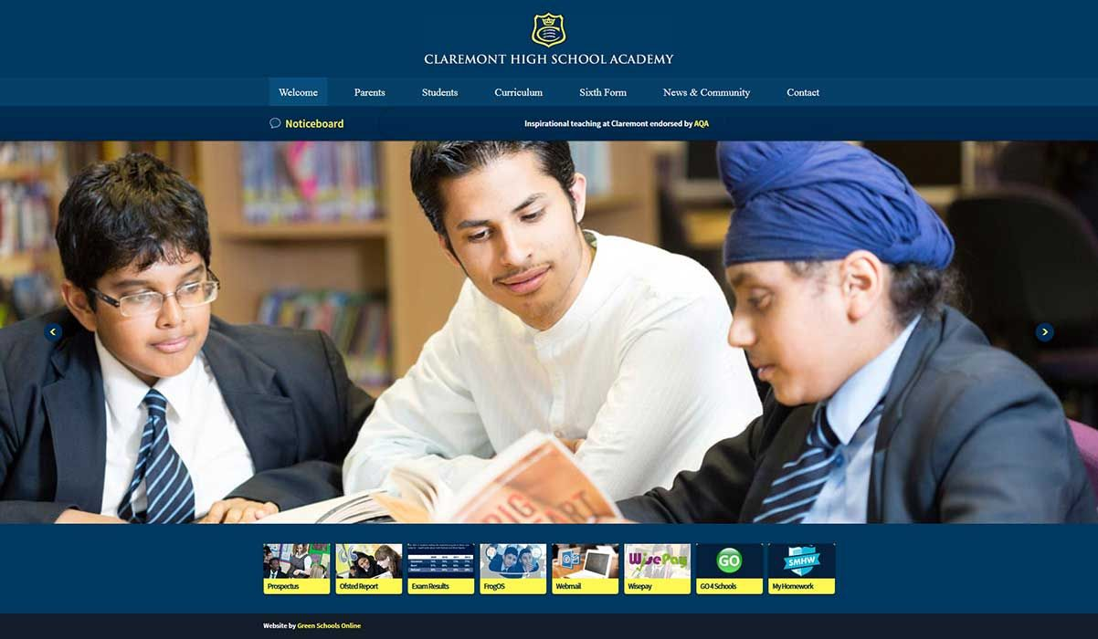 Enlarge Claremont High School Academy website design