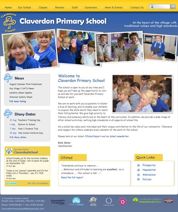 Enlarge Claverdon School website design