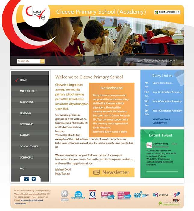 Enlarge Cleeve Primary School website design