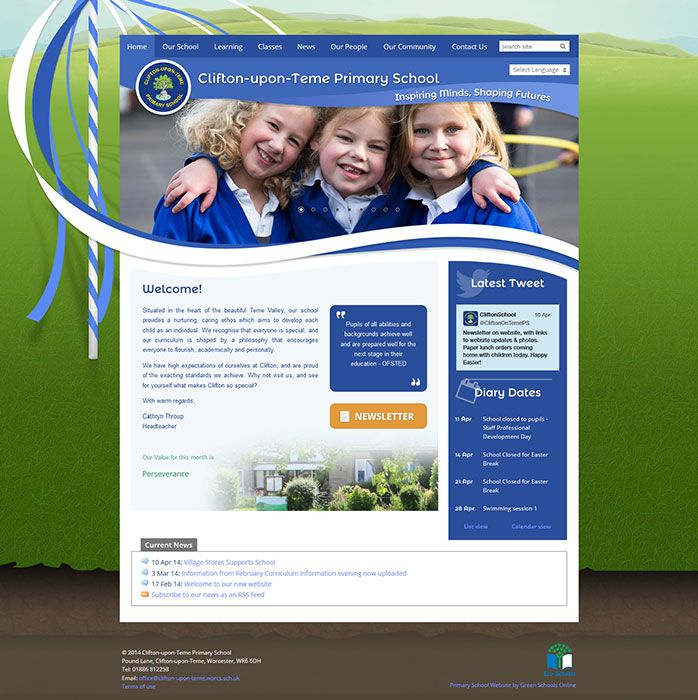 Enlarge Clifton-upon-Teme Primary School website design