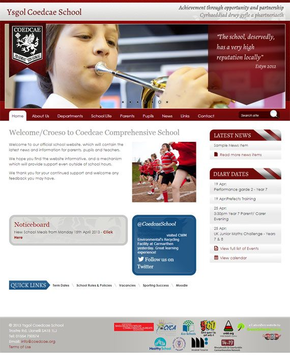 Enlarge Coedcae School website design