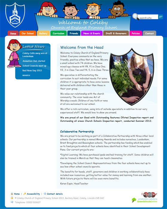 Enlarge Coleby Primary School website design