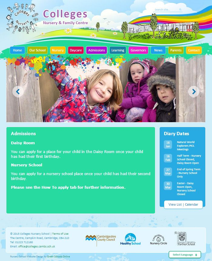 Enlarge Colleges Nursery and Family Centre website design