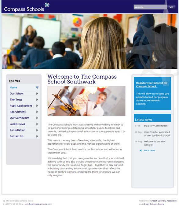 Enlarge Compass School Southwark website design