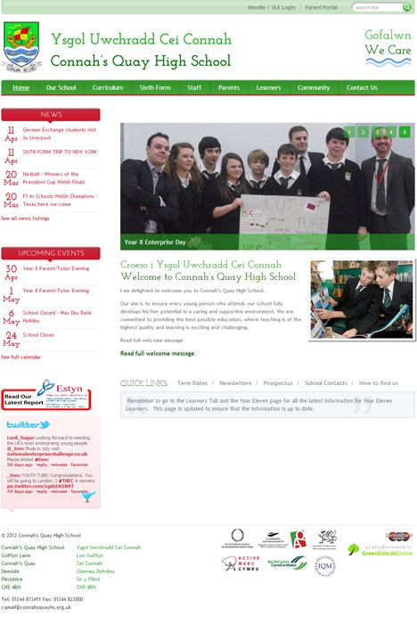 Enlarge Connah's Quay High School website design
