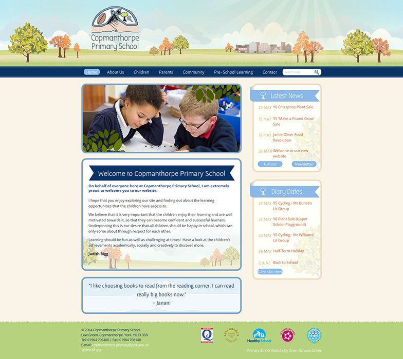 Enlarge Copmanthorphe Primary School website design
