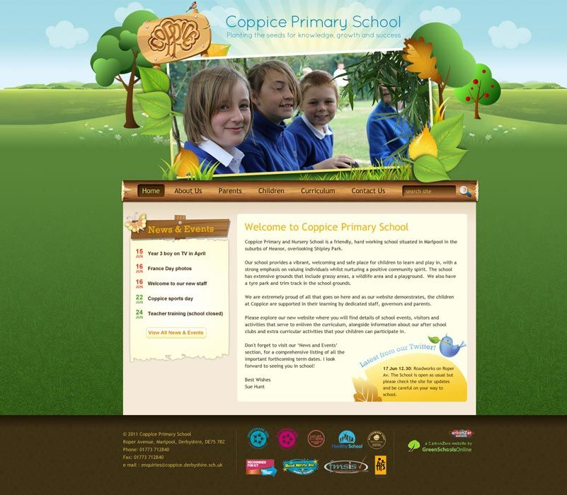 Enlarge Coppice Primary School website design