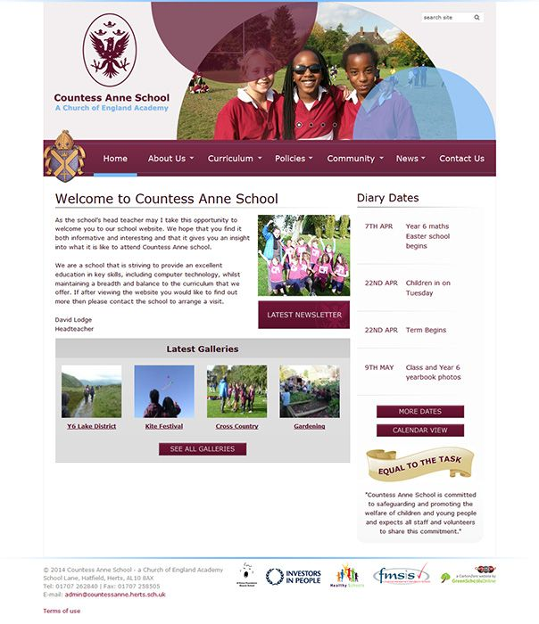 Enlarge Countess Anne School website design