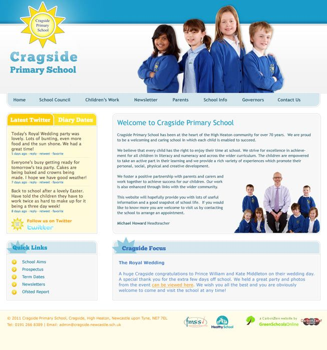 Enlarge Cragside Primary School website design
