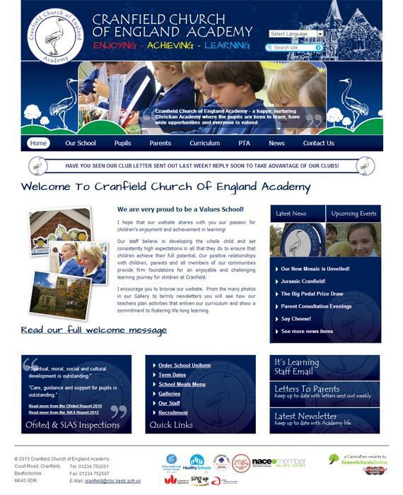 Enlarge Cranfield Church of England Academy website design