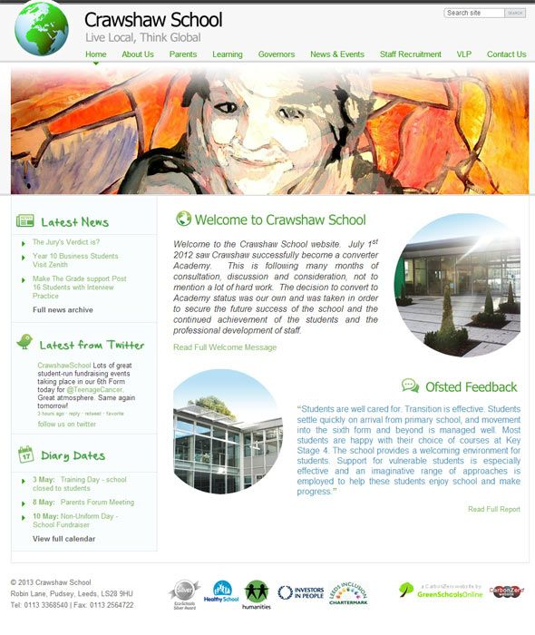 Enlarge Crawshaw School website design
