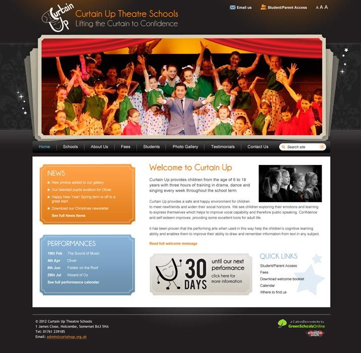 Enlarge Curtain Up website design