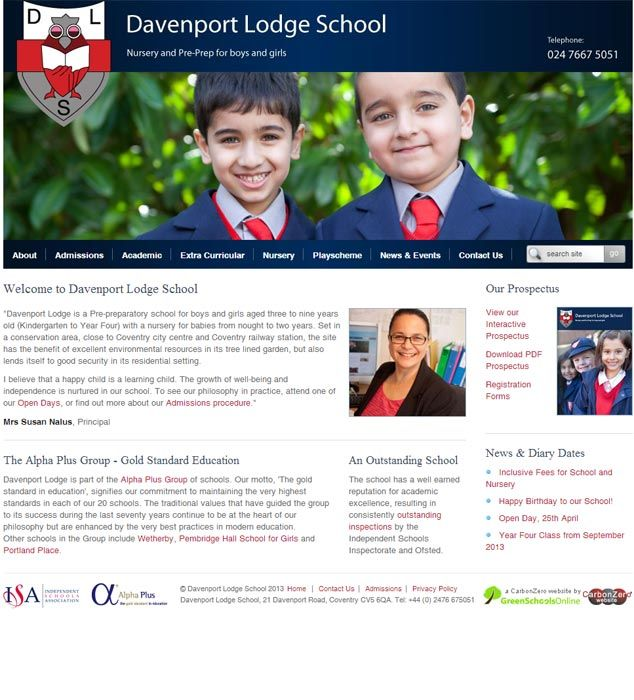 Enlarge Davenport Lodge School website design