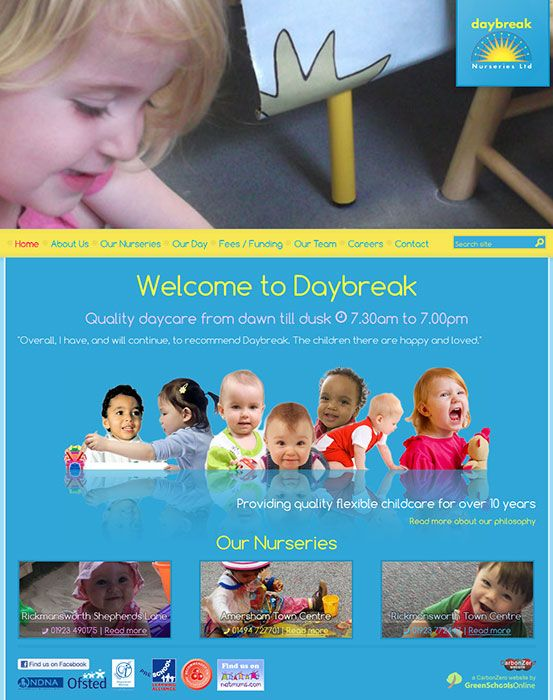 Enlarge Daybreak Nurseries website design