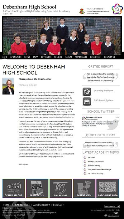Enlarge Debenham High School website design