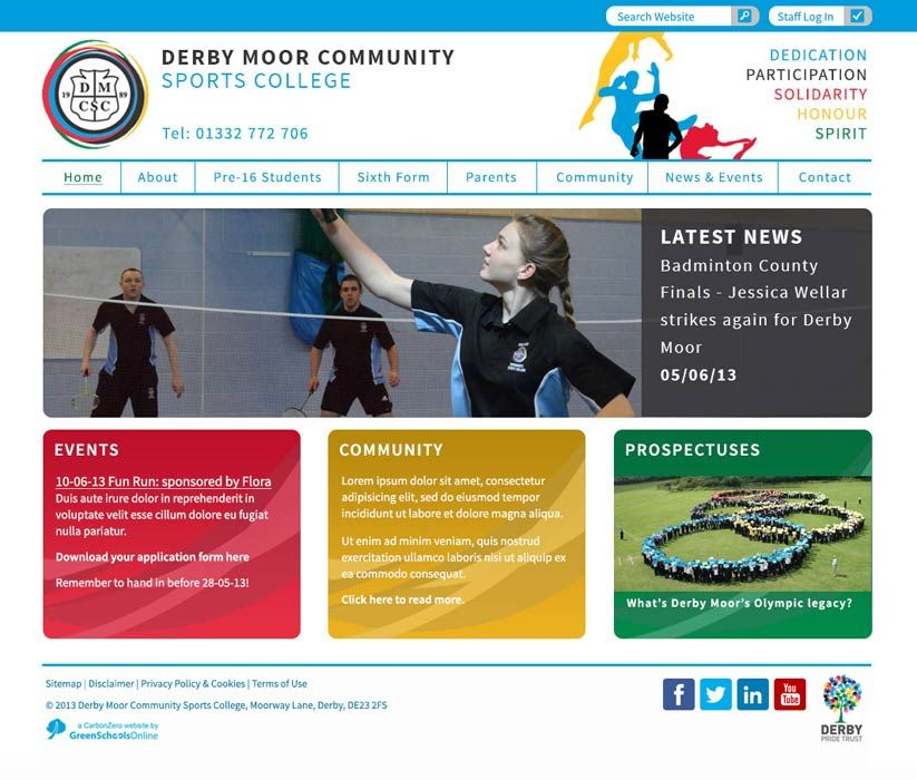 Enlarge Derby Moor Community Sports College website design