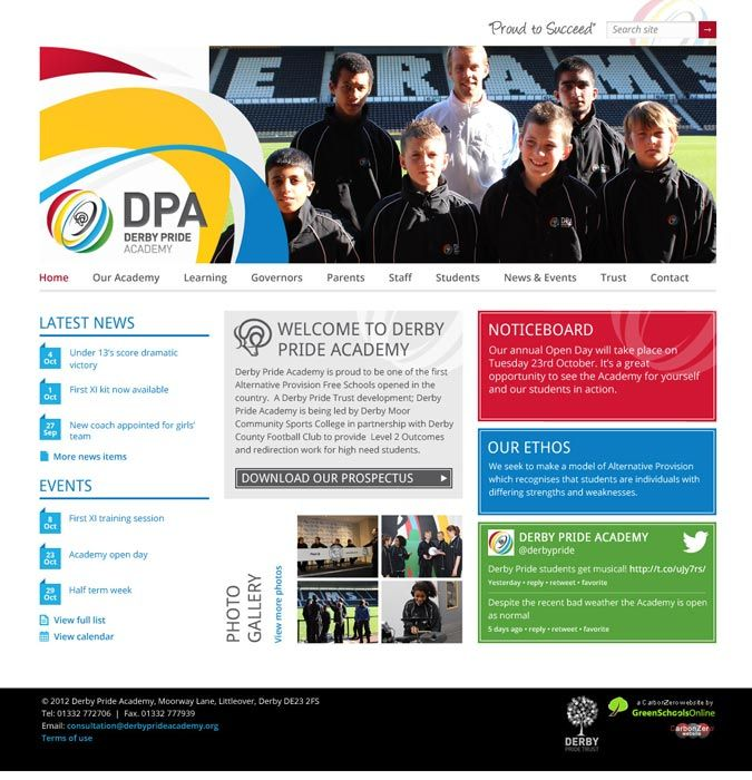 Enlarge Derby Pride Academy website design