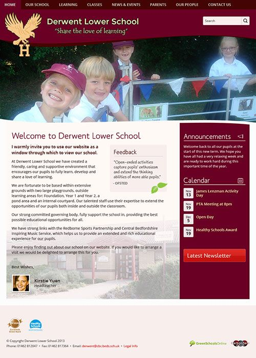 Enlarge Derwent Lower School website design