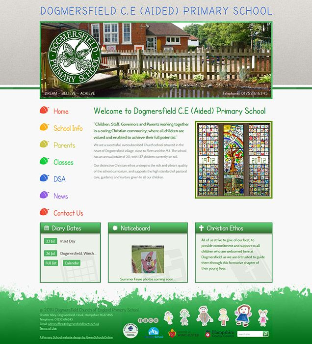 Enlarge Dogmersfield C.E (Aided) Primary School website design