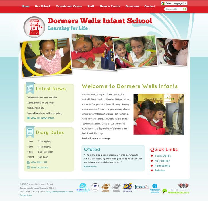Enlarge Dormers Wells Infants School website design