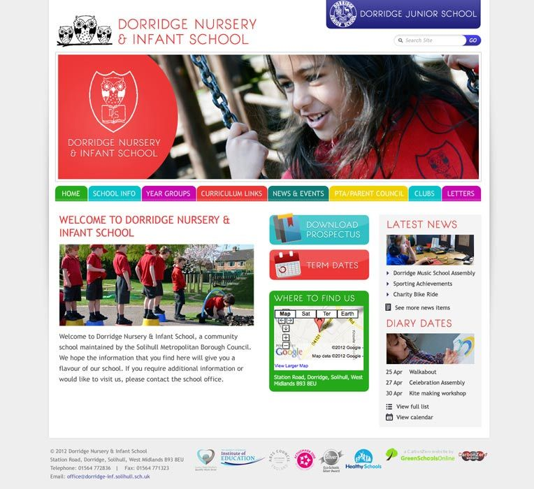 Enlarge Dorridge Nursery & Infant School website design