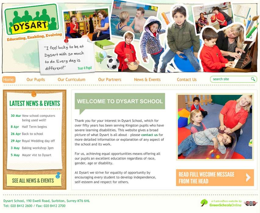 Enlarge Dysart School website design