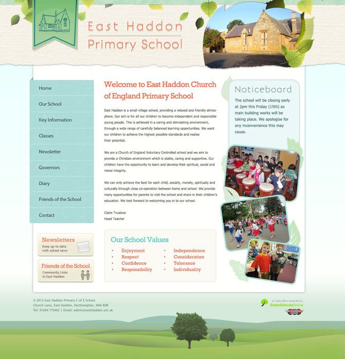 Enlarge East Haddon Primary School website design