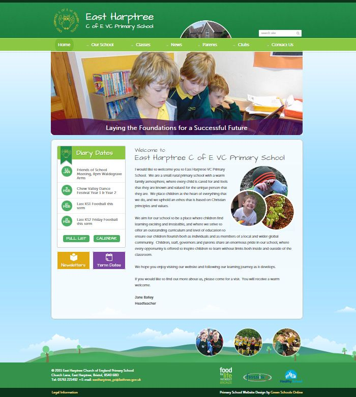 Enlarge East Harptree C of E VC Primary School website design