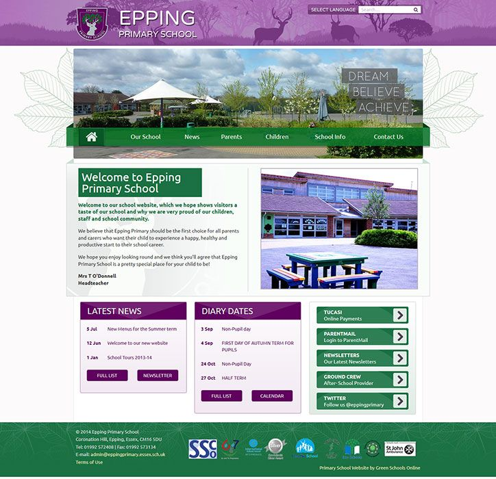 Enlarge Epping Primary School website design