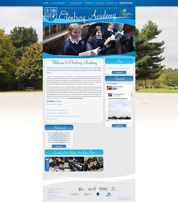 Enlarge Etonbury Academy website design