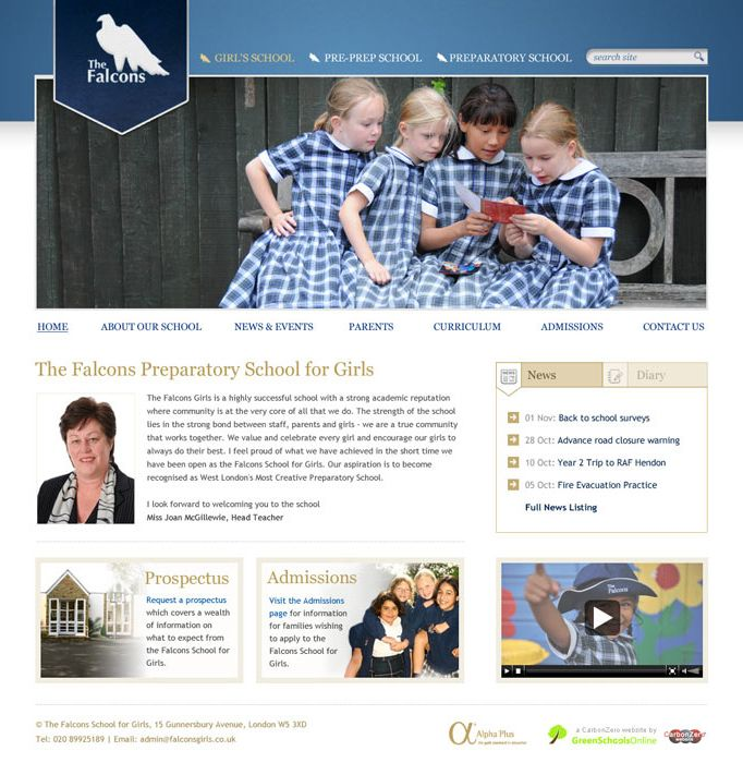 Enlarge Falcons School for Girls website design