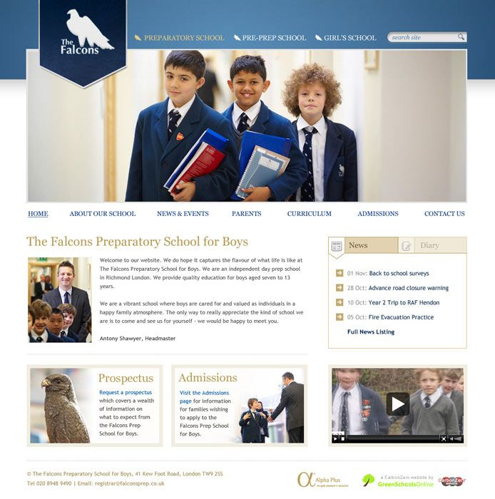 Enlarge Falcons Preparatory School for Boys website design