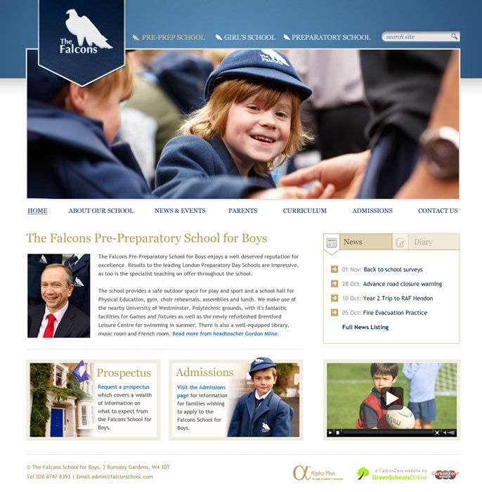 Enlarge Falcons Pre-Preparatory School website design
