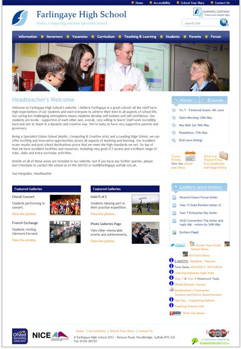 Enlarge Farlingaye High School website design