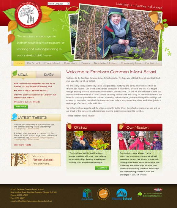 Enlarge Farnham Common Infants website design