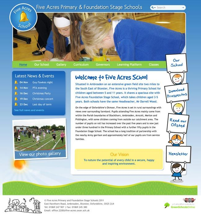 Enlarge Five Acres website design