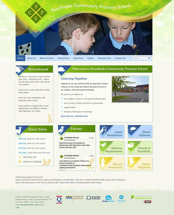 Enlarge Fourfields Community Primary School website design
