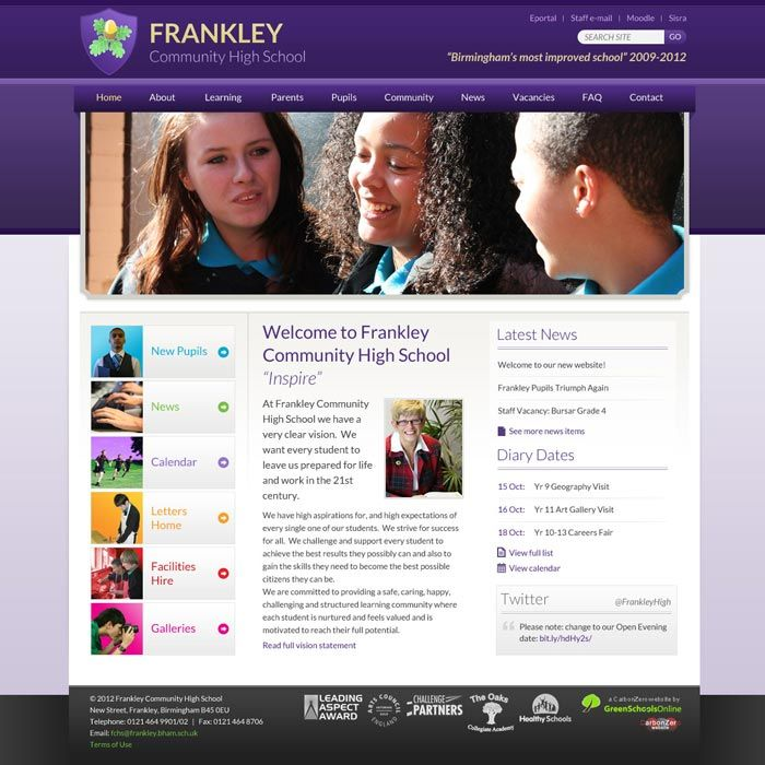 Enlarge Frankley Community High School website design