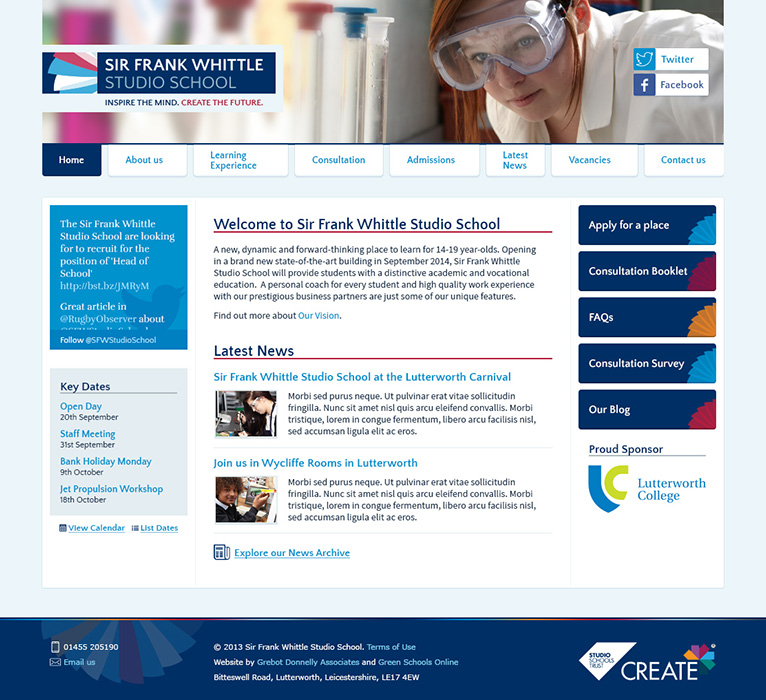 Enlarge Frank Whittle Studio School website design