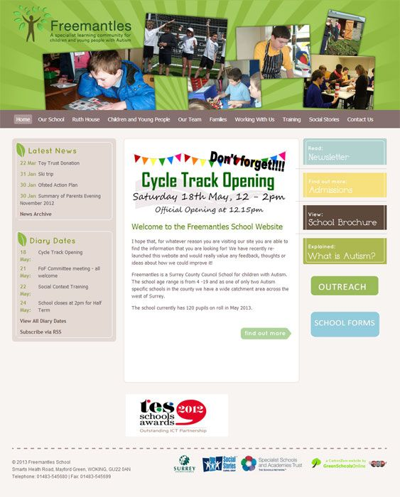 Enlarge Freemantles School website design