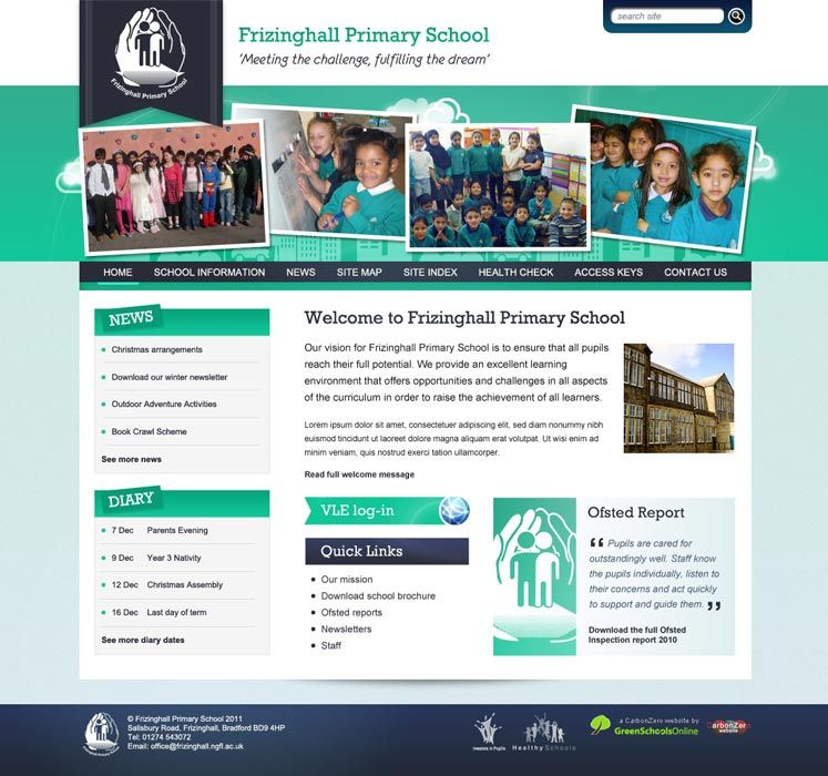 Enlarge Frizinghall Primary School website design