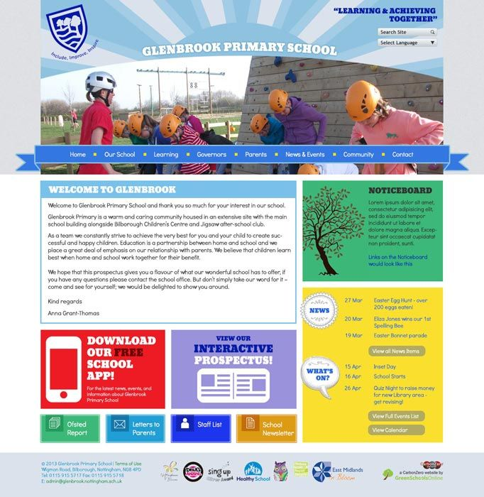 Enlarge Glenbrook Primary (Nottingham) website design
