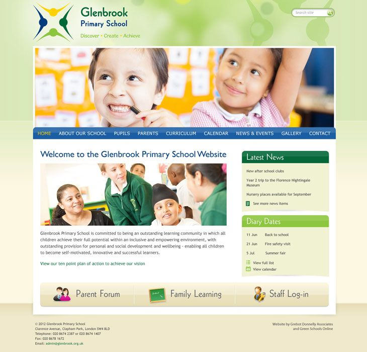 Enlarge Glenbrook Primary (Clapham) website design