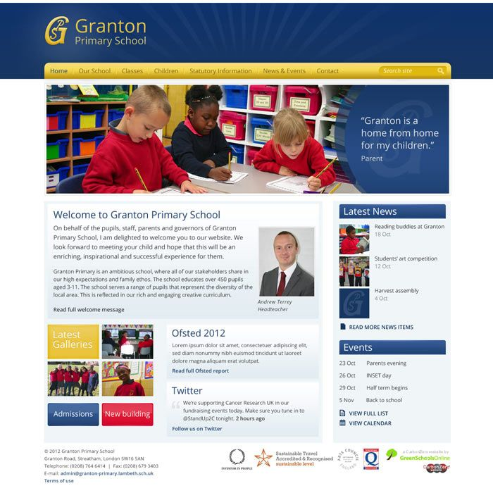 Enlarge Granton Primary School website design