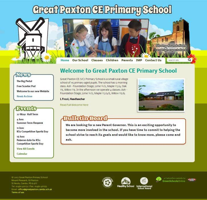 Enlarge Great Paxton Primary School website design
