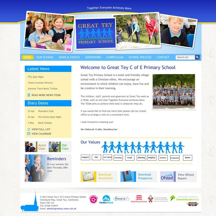 Enlarge Great Tey Primary School website design