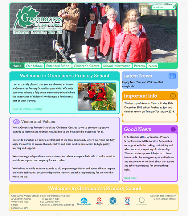 Enlarge Greenacres Primary School and CC website design