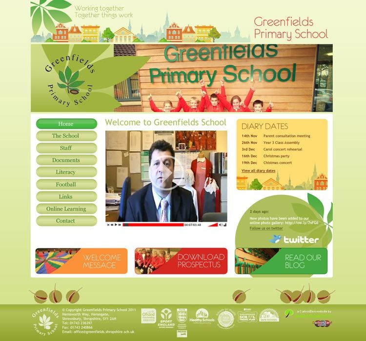 Enlarge Greenfields Primary School website design