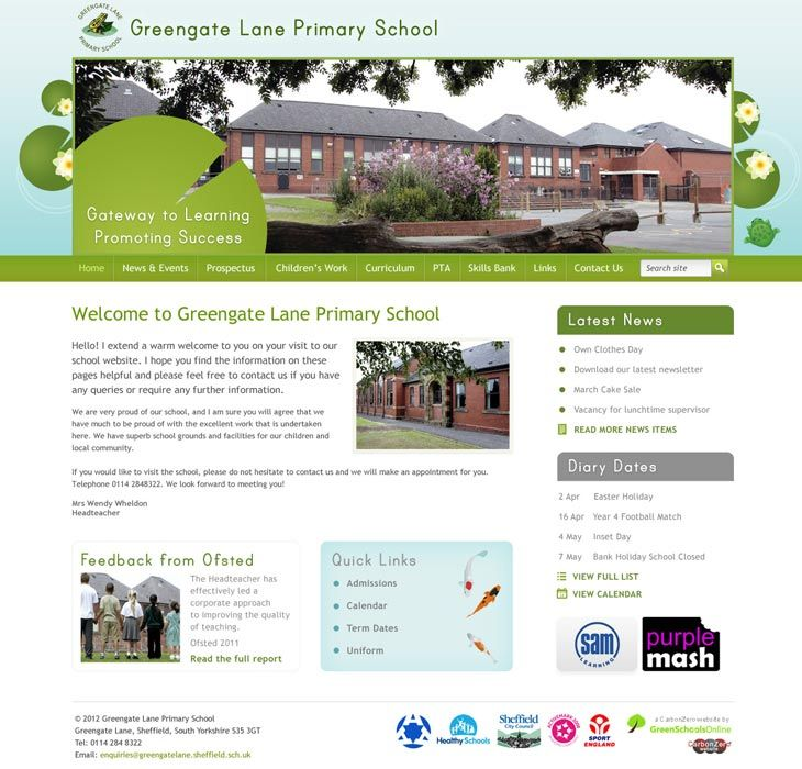 Enlarge Greengate Lane Primary School website design